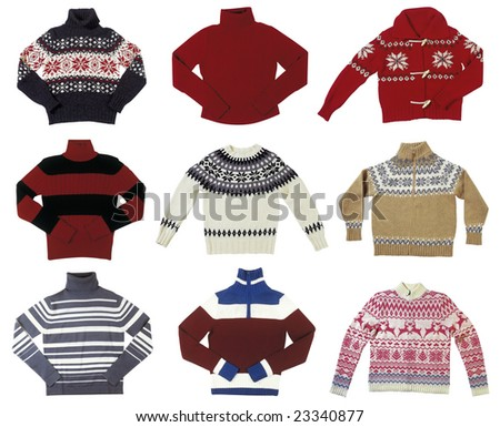 Nine winter sweaters isolated on white background