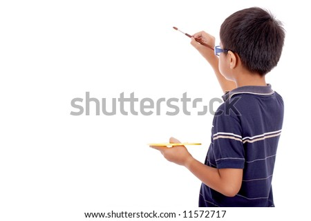 nine year old boy showing interest in painting