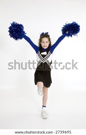 Nine year old girl dressed as cheerleader
