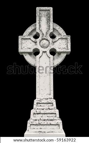 Nineteenth century Celtic cross tombstone isolated on black