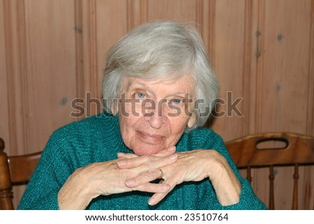 ninety year old woman looking into the camera