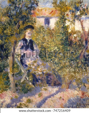 Nini in the Garden, by Auguste Renoir, 1876, French impressionist painting, oil on canvas. Renoirs model, Nini Lopez, sits in the sunlit garden next to the artists studio at 12 rue Cortot, in Montmart