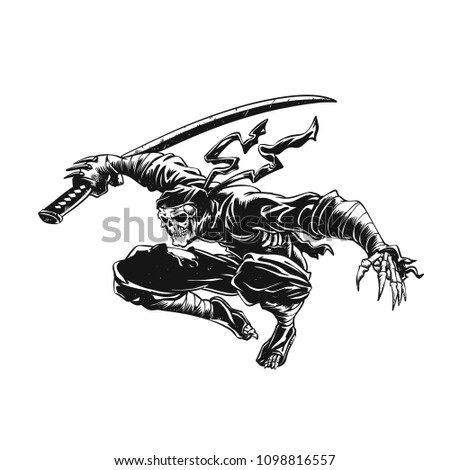 Stock Photo Ninja skeleton attacking , skull illustration , dark samurai , black warrior , gothic halloween