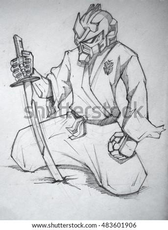 Stock Photo ninja techno cyber robot samurai