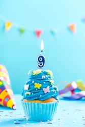 Ninth 9th birthday cupcake with candle and sprinkles. Card mockup.