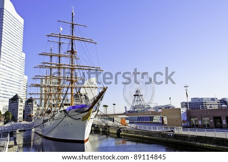 Nippon Maru in Yokohama, Japan. Nippon Maru was built in Kobe in 1930 and was a training ship for the cadets of the Japanese merchant marine.