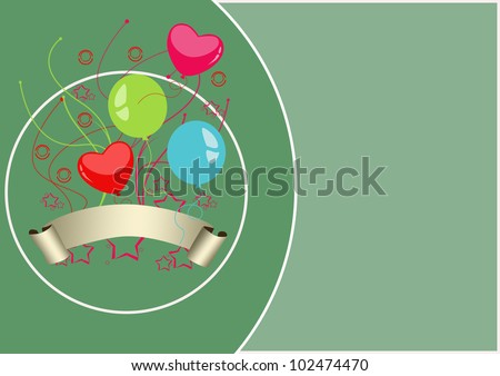 Nirthday ballon card background with space (poster, web, leaflet, magazine)