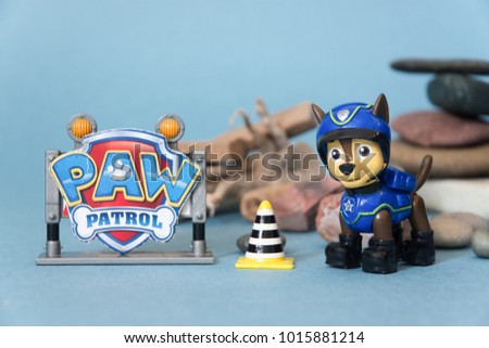 NIS; SERBIA - JANUARY 26, 2018; Paw patrol toy and cartoon hero Chase with police car and drone