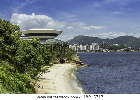 NITEROI - FEBRUARY 15 : Museum of Contemporary Art on February 15, 2012 in Niteroi. Museum was design by famous brazilian architect Oscar Niemeyer and is located in city of Niteroi in Brazil