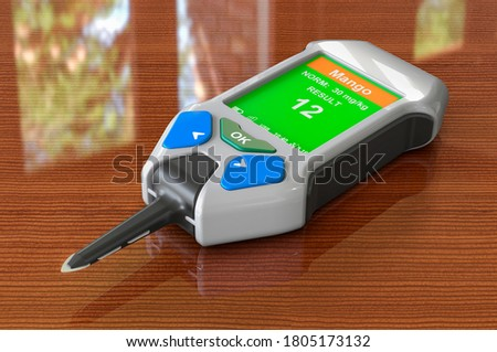 Nitrate Tester on the wooden table. 3D rendering  ストックフォト ©