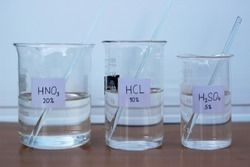 Nitric acid, hydrochloric acid, sulfuric acid, and their concentrations in decreasing order, in a beaker.