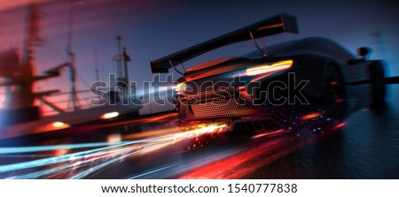 Nitro Boost - High speed, sports car speeding in city (with grunge overlay and motion blur) brand less - 3d illustration