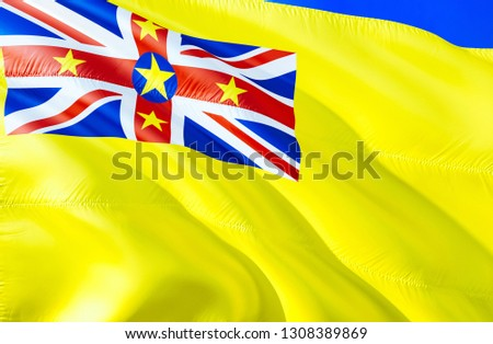 Niue flag. 3D Waving flag design. The national symbol of Niue, 3D rendering. National colors and National flag of Niue for a background. Oceania sign on smooth silk