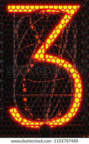 Nixie tube indicator, lamp gas-discharge indicator close-up. Number three of retro. 3d rendering.