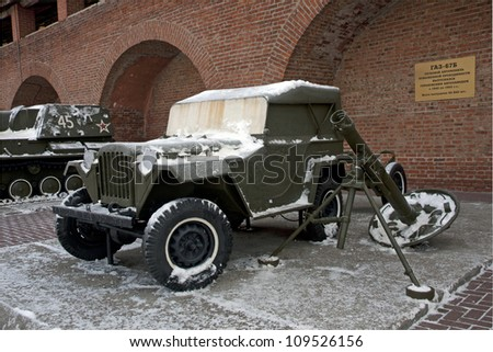 NIZHNY NOVGOROD, RUSSIA - JANUARY 25:  Gaz67B military off-road vehicle with mortar on display at World War II Soviet Army Weapons and Equipment outdoor exhibition in N.Novgorod Kremlin, 25.01.2012.
