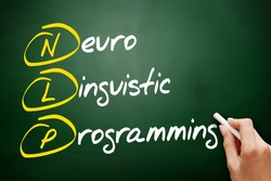 NLP - Neuro Linguistic Programming, acronym health concept on blackbord