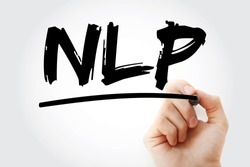 NLP - Neuro Linguistic Programming or Natural Language Processing acronym, concept background