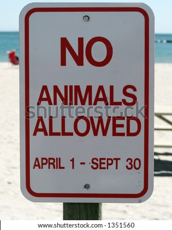 no animals allowed sign at beach