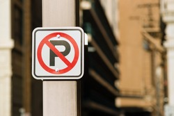 No Auto Parking Sign Bolted to Light Post Downtown