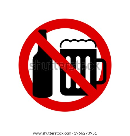No beer. Prohibition sign. Forbidden round sign. illustration isolated on white. Foto stock ©