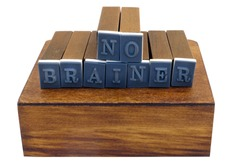 NO BRAINER concept spelled out with rubber stamp blocks. Isolated.
