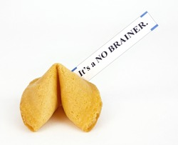NO BRAINER fortune cookie. Isolated.