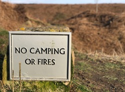 No camping or Fires sign in a countryside in the north Yorkshire moors national park. Osmotherley village in England.