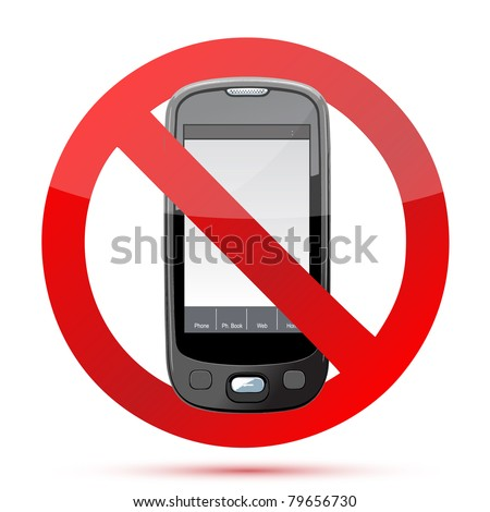No cell phone sign illustration design isolated over a white background