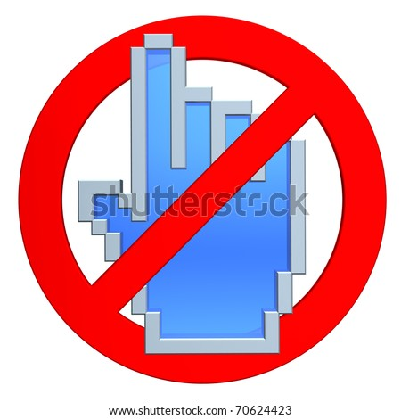 No click. Hand cursor in forbidden sign. - stock photo