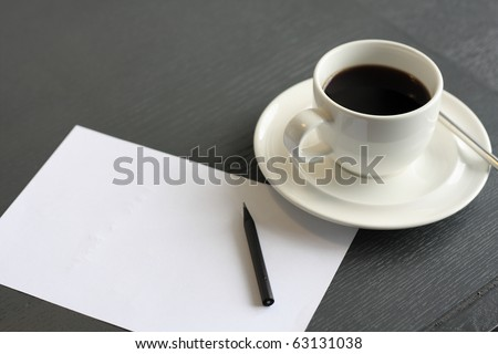 no concept. blank page, empty cup of coffee, pencil