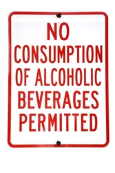 No Consumption of Alcoholic Beverages Permitted. City Sign warning against consuming Alcohol.  Isolated on white.