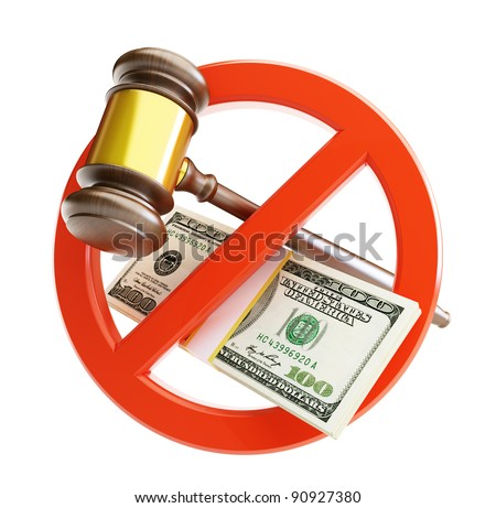 no corrupt court gavel on a white background