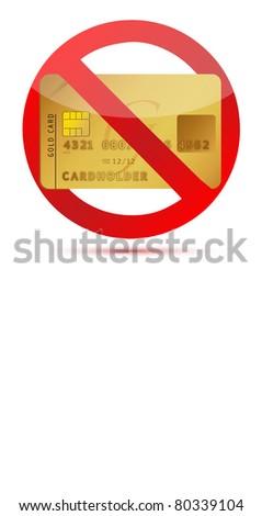 No credit or credit cards not allowed illustration design