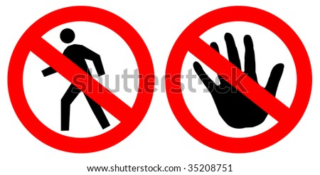 No entry signs over white - stock photo