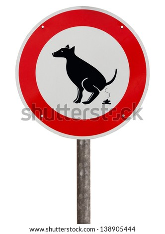 No exhaust place for dogs sign against white background