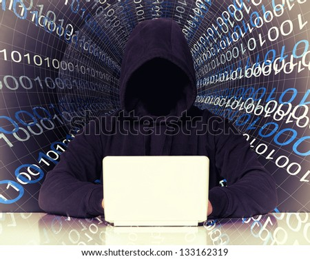 no face hacker and binary code