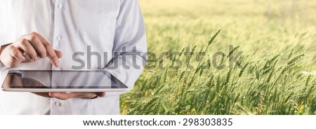No face person Businessman hold tablet touch pad computer Botanic scientist man wear shirt Copy space for inscription Experienced agronomist examining wheat grain in field Takes readings Agribusiness