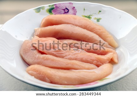no fat raw chicken fillets ready to cook