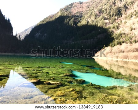 No filters in Jiuzhaigou, very clear water and clear sky. Unesco world heritage