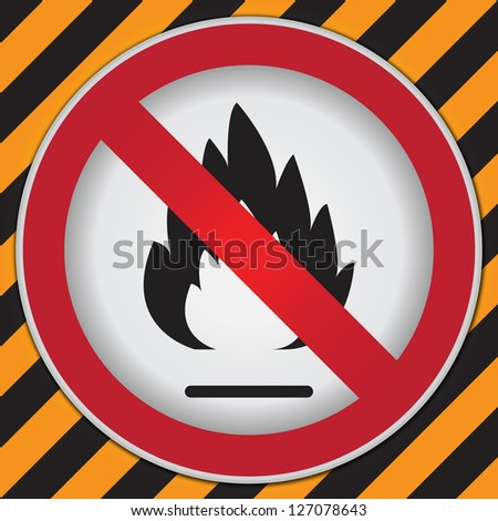 No Flammable or Non Burnable Prohibited Sign in Caution Zone Dark and Yellow Background