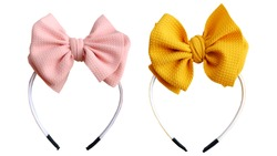 No flap bow hair with yellow and peach pastel color, so elegant and fashionable. This vintage hair band is for hair accessories headband girl.