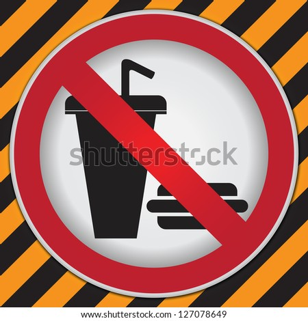 No Food and Drink or No Eating and Drinking Prohibited Sign in Caution Zone Dark and Yellow Background