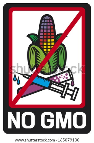 no GMO label (GMO prohibited sign, stop genetically modified foods icon)