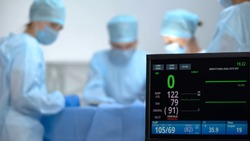 No heart rate on ecg monitor during surgery operation, reanimation, death