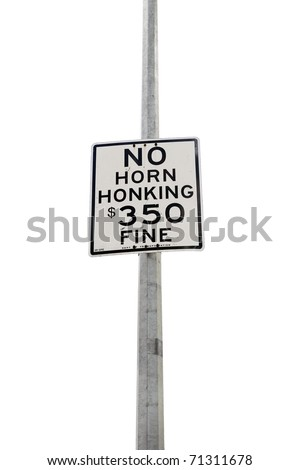 no horn honking with a column  on white background