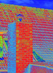 no illustration Thermal image with a thermal imaging camera from a chimney