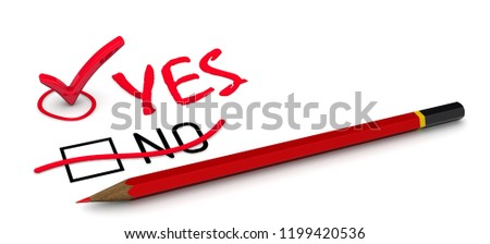 NO is corrected to YES. The concept of changing the conclusion. The red pencil corrected the negation of NO to a positive YES. 3D Illustration