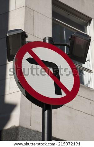 No Left Turn Traffic Sign in Urban Setting