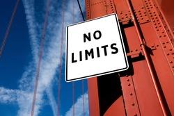 NO LIMITS motivational message written on a traffic sign, success achievement and aspiration, self belief concept
