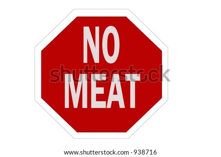 No Meat sign isolated on a white background